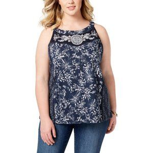 Style & Co. Lace Embroidered Floral Print Tank Top